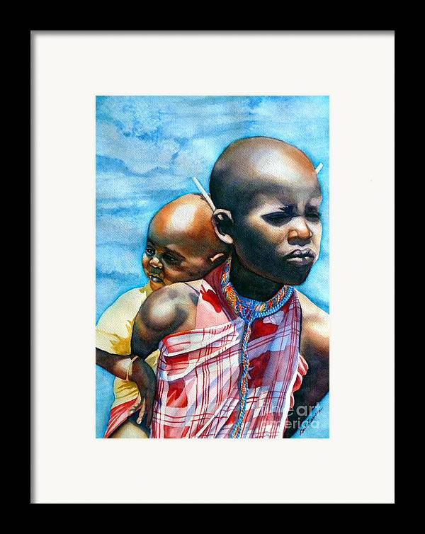 Portrait Framed Print featuring the painting He Ain't Heavy...he's My Brother by Gail Zavala
