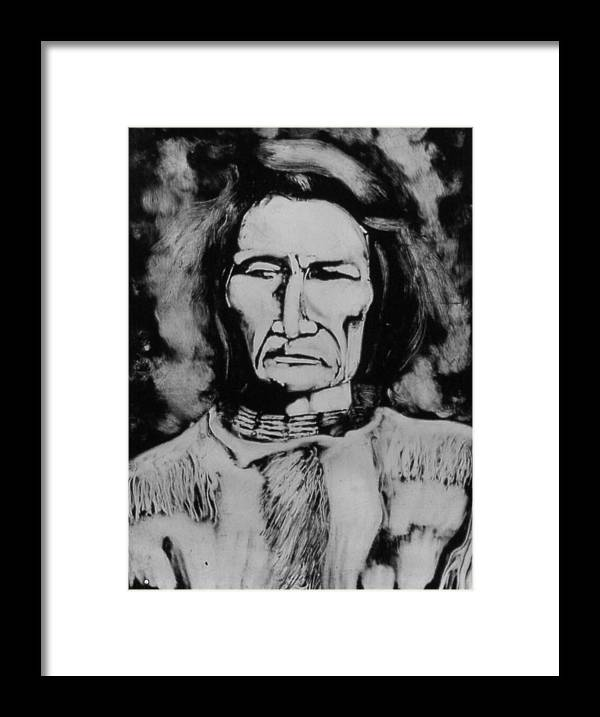Western Art Framed Print featuring the drawing He Has Seen Many Changes by Dan RiiS Grife