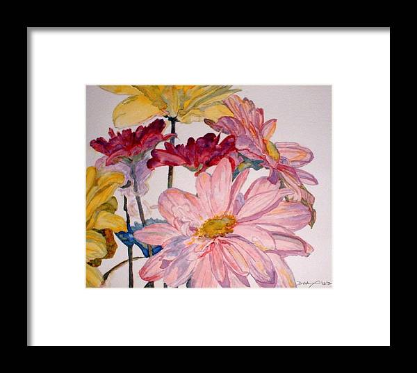 Floral Framed Print featuring the painting He Loves Me - Watercolor by Donna Hanna