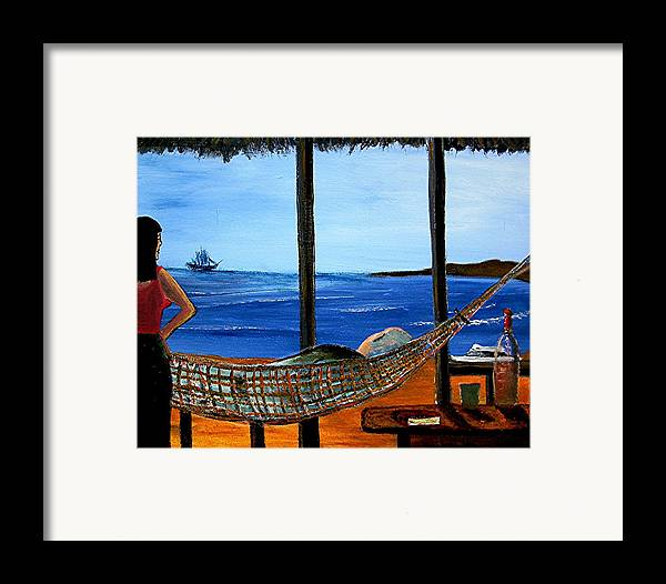 Beach Framed Print featuring the painting He Said He Was Dreaming... by Richard Hubal