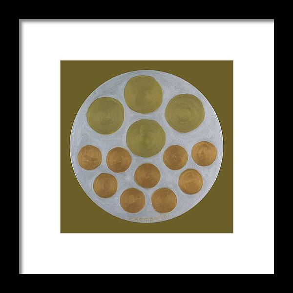 He Tu Framed Print featuring the painting He Tu Metal Round by Adamantini Feng shui
