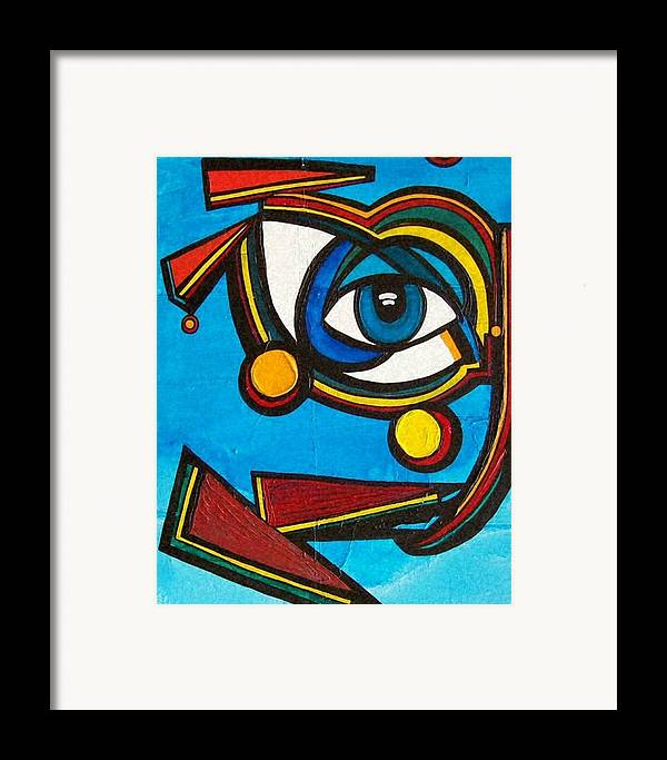 Abstract Framed Print featuring the painting HE by Valerie Wolf
