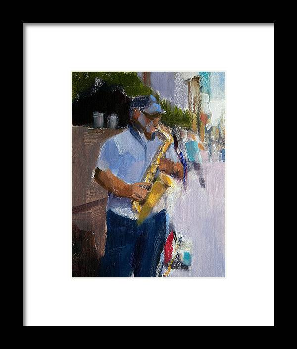 Musicians Framed Print featuring the painting He Was Playing Real Good For Free by Merle Keller
