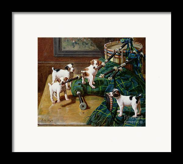 He Who Pays The Piper Calls The Tune By John Hayes (fl.1897-1902) Framed Print featuring the painting He Who Pays The Piper Calls The Tune by John Hayes