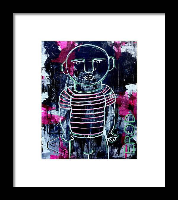 Faces Framed Print featuring the painting He Wore Stripes by Robert R Splashy Art Abstract Paintings
