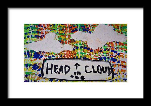 Clouds Framed Print featuring the painting Head In The Clouds by Kayanna South