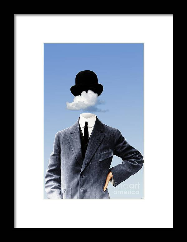 head In The Clouds Framed Print featuring the digital art Head In The Clouds by Kenneth Rougeau
