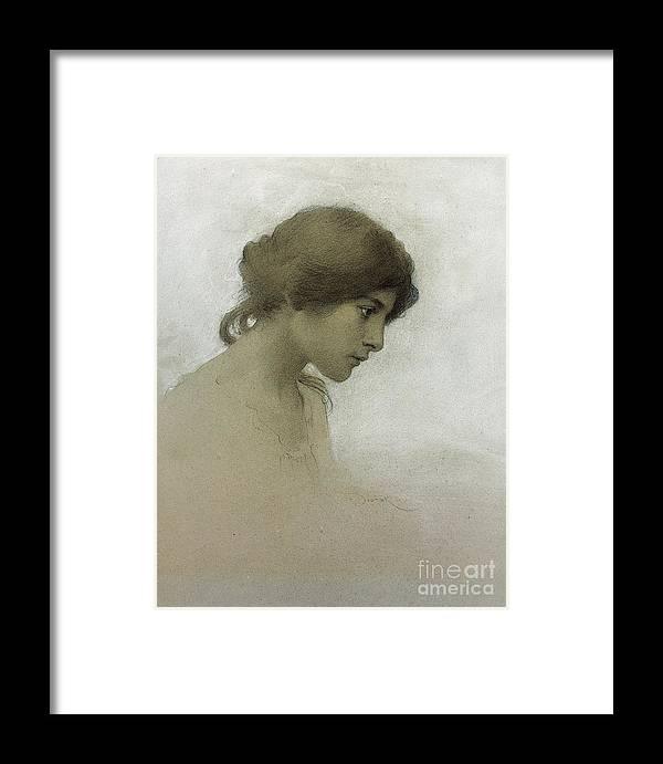 Head Of A Girl (pencil & Chalk On Paper) Female; Portrait; Young Girl; Profile; Drawing; Ethereal Beauty; Sketch Framed Print featuring the drawing Head Of A Girl by Franz Dvorak