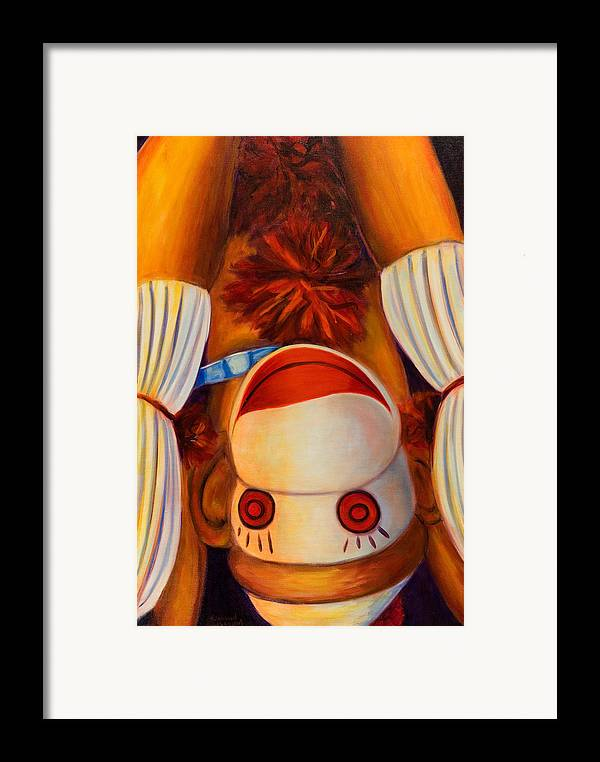 Children Framed Print featuring the painting Head-over-heels by Shannon Grissom