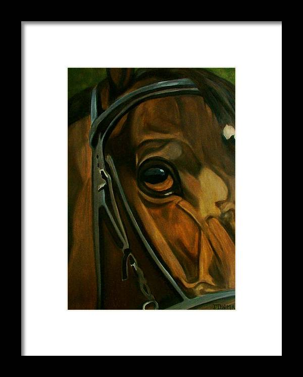 Horse Framed Print featuring the painting Head Stall by Donna Thomas