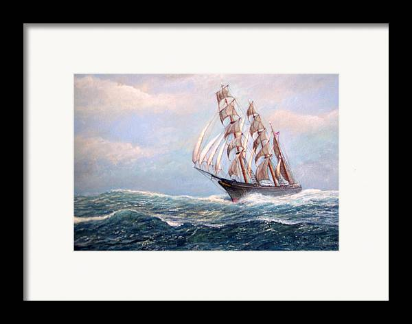 Tall Ships. Marine Art Framed Print featuring the painting Headin' Home by William H RaVell III