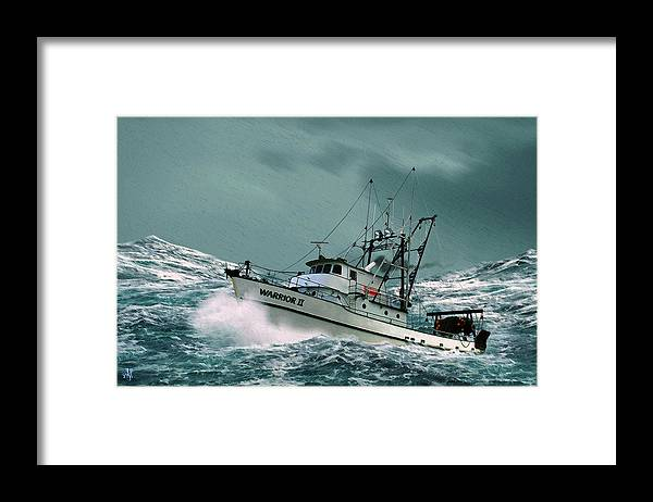 Fishing Vessel In A Rough Sea. Framed Print featuring the digital art Heading For Shelter by John Helgeson