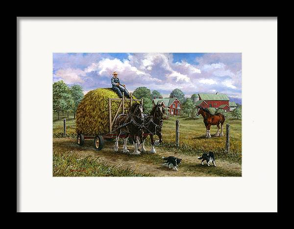 Farm Framed Print featuring the painting Heading For The Loft by Richard De Wolfe