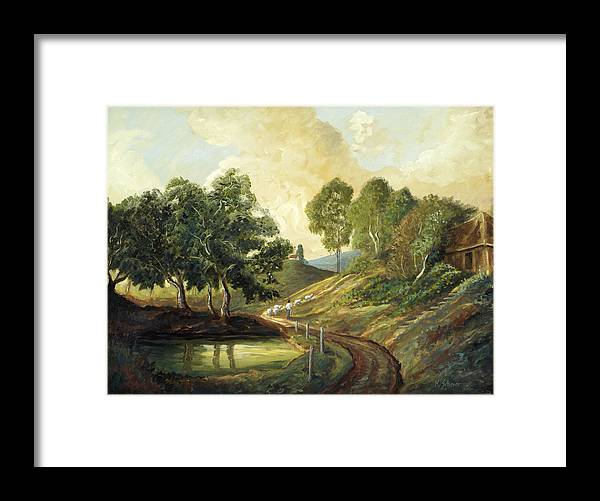 Landscape Oil Painting Framed Print featuring the painting Heading Home by Michael Scherer