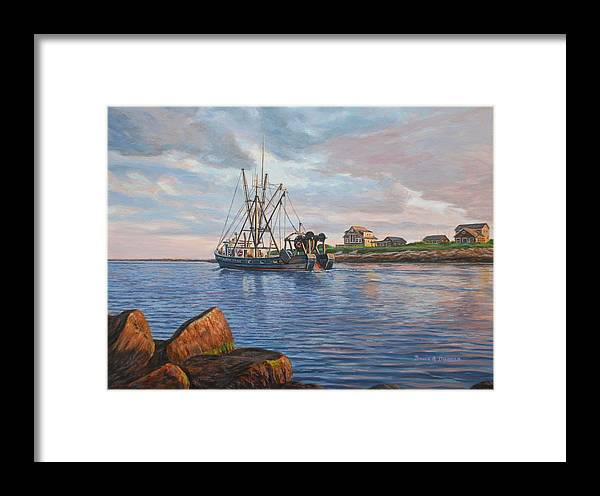 Marine Art Framed Print featuring the painting Heading Out by Bruce Dumas