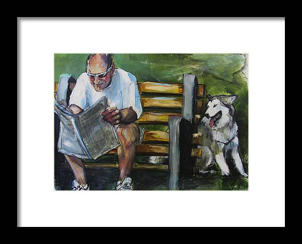 Man In Park Framed Print featuring the painting Headlines by Michelle Winnie