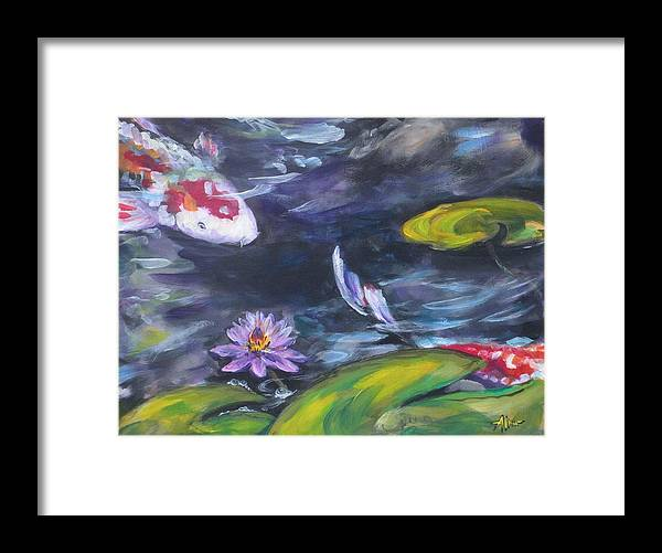 Koi Fish Lily Pad Water Waterscape Green Blue Red Pond Nature Framed Print featuring the painting Heads Or Tails by Alan Scott Craig