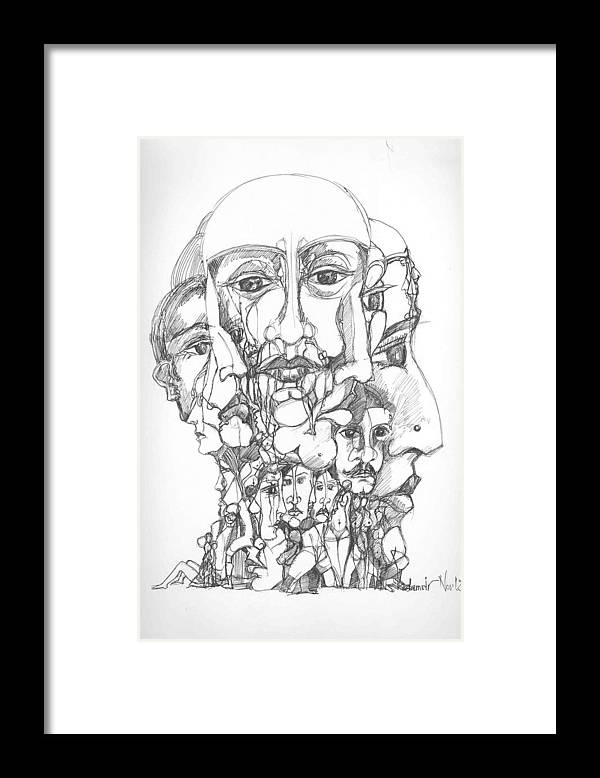 Surreal Framed Print featuring the drawing Heads by Padamvir Singh
