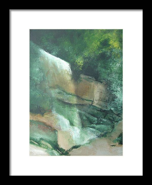 Landscape Framed Print featuring the painting Headstone Falls by William Stanton