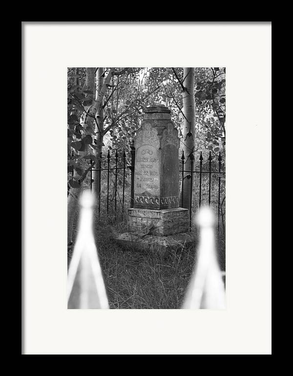 Black And White Framed Print featuring the photograph Headstone Near Central City Colorado by Robert Gladwin