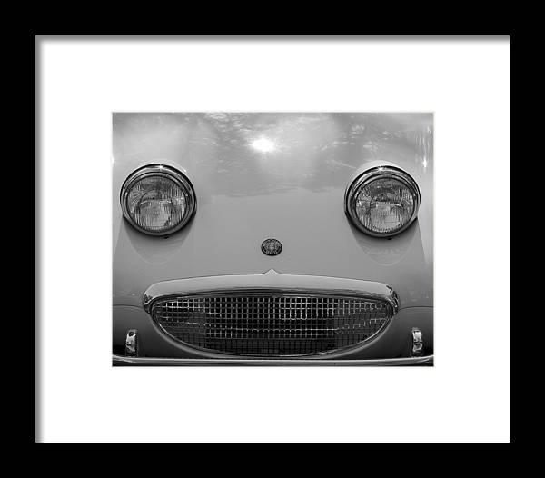 Austin Healey Framed Print featuring the photograph Healey Hello by Alan Raasch