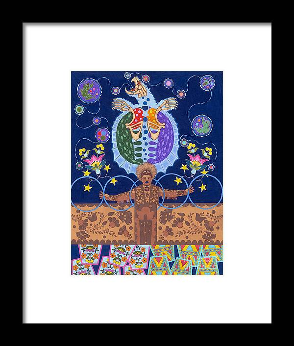 Native American Framed Print featuring the painting Healing - nanatawihowin by Chholing Taha