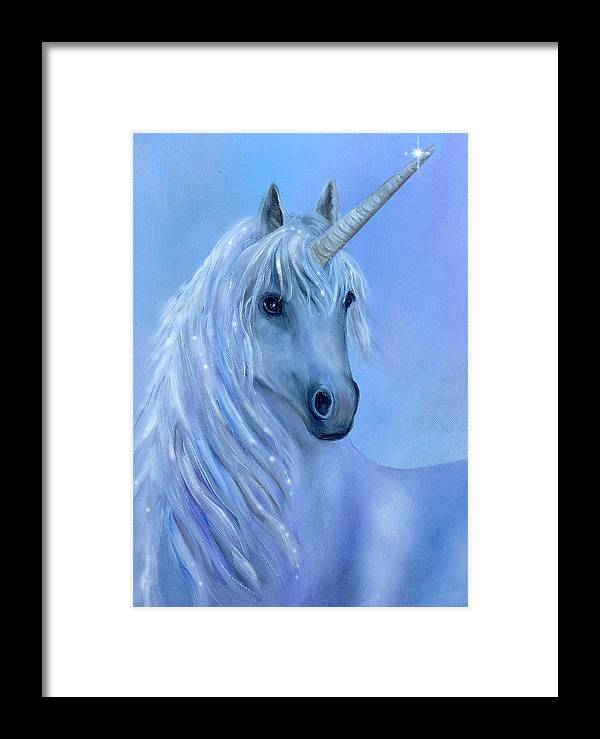 Unicorn Framed Print featuring the painting Healing Unicorn by Sundara Fawn