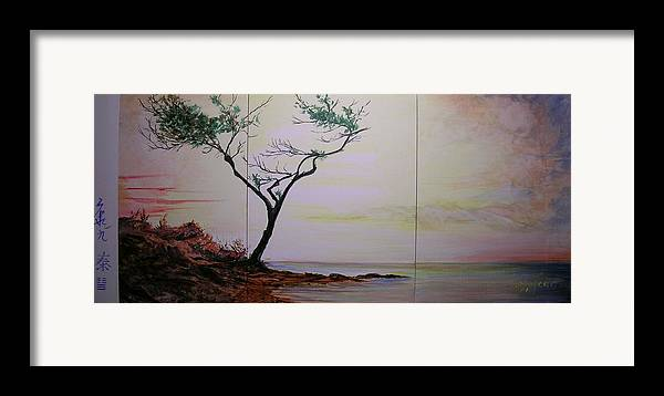 Sunrise Framed Print featuring the painting Health Wealth And Benevolence by Lizzy Forrester