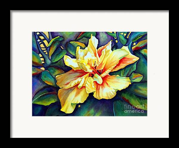 Floral Framed Print featuring the painting Heart Of Fire by Gail Zavala