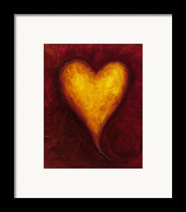 Heart Framed Print featuring the painting Heart Of Gold 1 by Shannon Grissom
