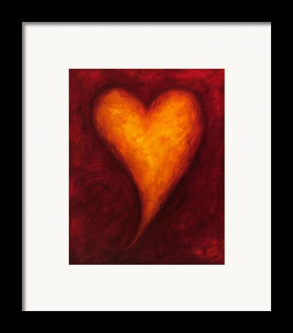 Heart Framed Print featuring the painting Heart Of Gold 2 by Shannon Grissom