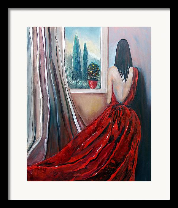 Girl Window Trees Dress Red Woman Framed Print featuring the painting Heart Of Mine by Niki Sands