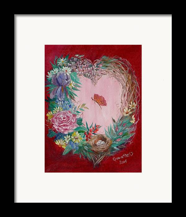 Heart Framed Print featuring the painting Heart Wreath by Quwatha Valentine