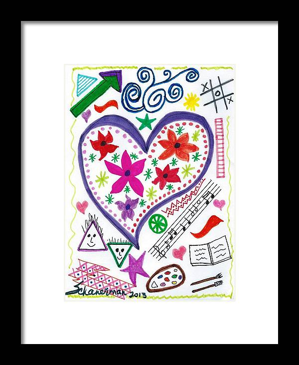 Doodle Art Framed Print featuring the drawing Hearts And Flowers by Susan Schanerman