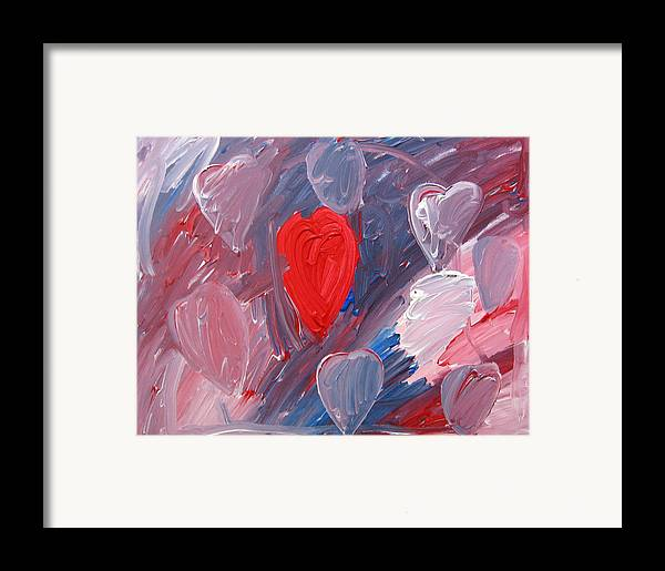 Hearts Framed Print featuring the painting Hearts by Kiely Holden