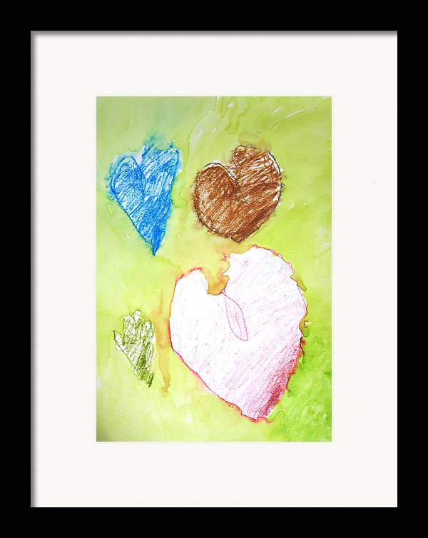 Hearts Framed Print featuring the mixed media Hearts by Teri Ann Foley