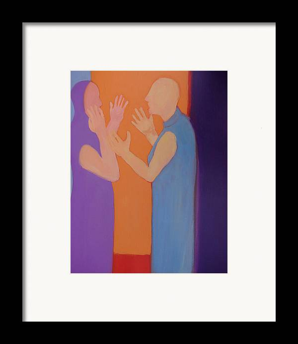 Discussion Framed Print featuring the painting Heated Conversation by Renee Kahn
