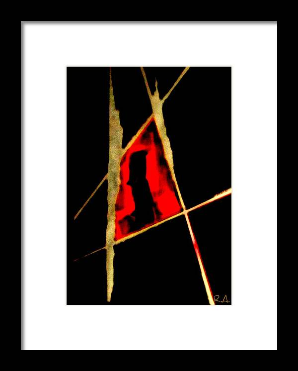 Abstract Framed Print featuring the painting Heated Moment by Rene Avalos