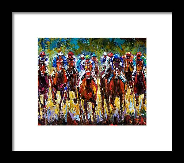 Equestrian Framed Print featuring the painting Heated Race by Debra Hurd