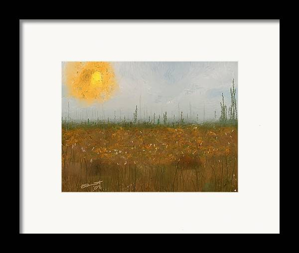 Island Painting Heatwave Sun Hot Oil Summer Marsh Massachusetts Framed Print featuring the painting Heatwave by Eddie Durrett