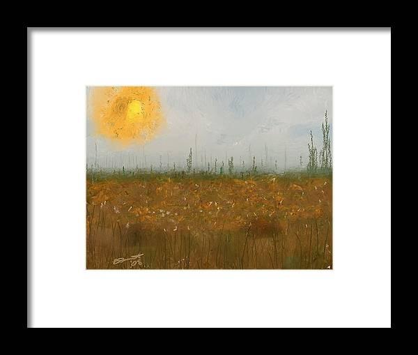 Island Painting Heatwave Sun Hot Oil Summer Marsh Massachusetts Framed Print featuring the painting Heatwave by Eddie Durrett