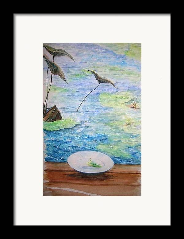 Feng Shui Study Framed Print featuring the painting Heaven Sent Gentle Rain by Lizzy Forrester