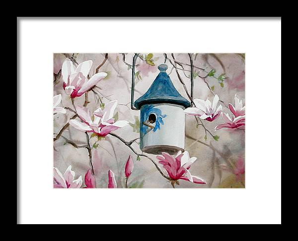 Birdhouse Framed Print featuring the painting Heavenly Home by Faye Ziegler