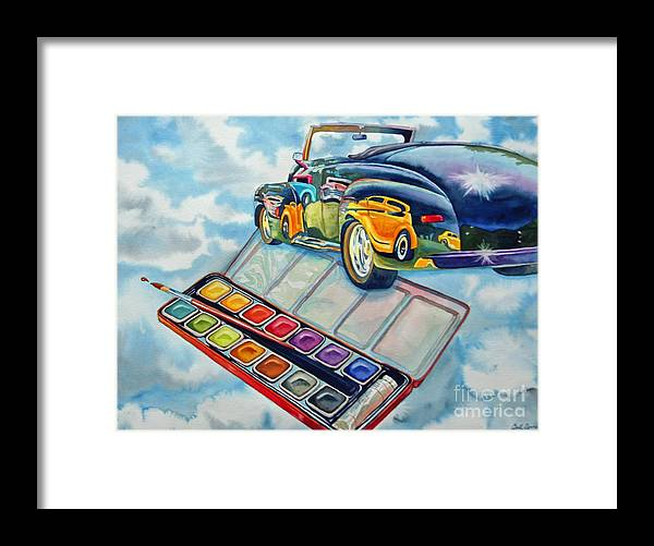 Old Vintage Car Framed Print featuring the painting Heavenly Hotrod by Gail Zavala