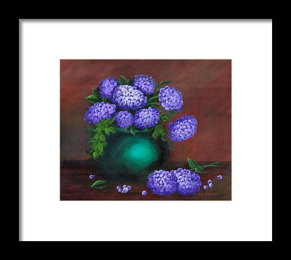 Floral Framed Print featuring the painting Heavenly Hydrangeas by SueEllen Cowan