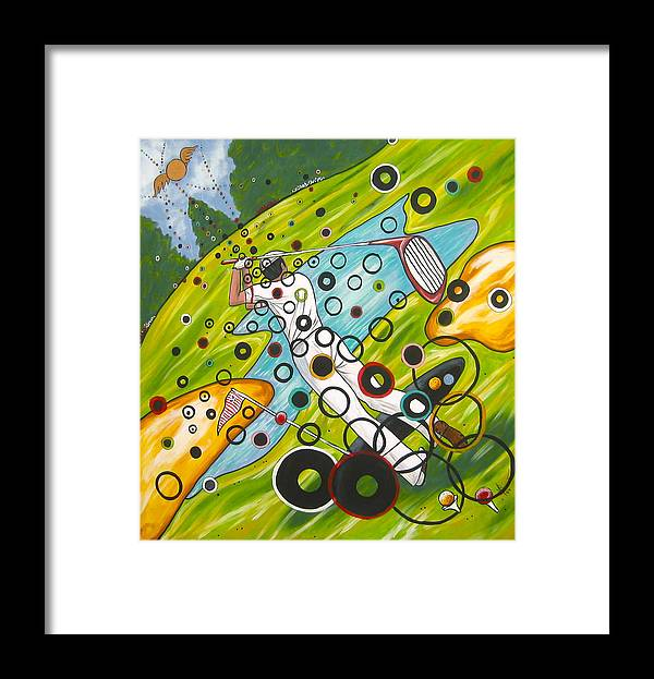 Golf Framed Print featuring the painting Heavenly Swing by V Boge