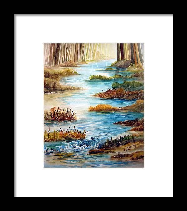 Heavens Gift Water Trees Landscape Framed Print featuring the painting Heavens Gift by Joanne Smoley
