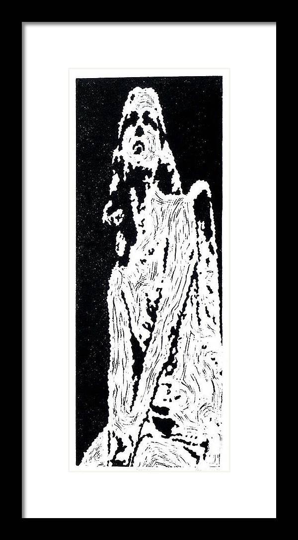 Black Framed Print featuring the painting Heavenward -- Hand-pulled Linoleum Cut by Lynn Evenson