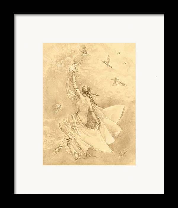 Flying Framed Print featuring the drawing Heavenward by Julianna Ziegler
