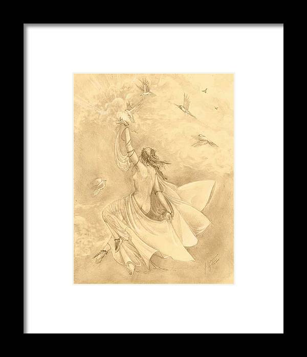 Flying Framed Print featuring the drawing Heavenward by Julianna Ziegler